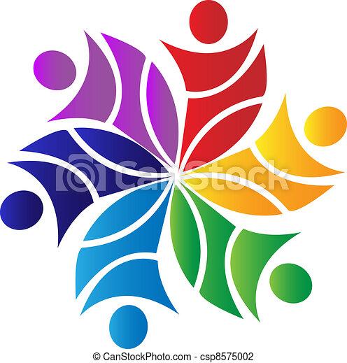logotipo, flor, trabajo en equipo - csp8575002