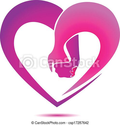 Las manos sosteniendo un logo en forma de corazón - csp17287642