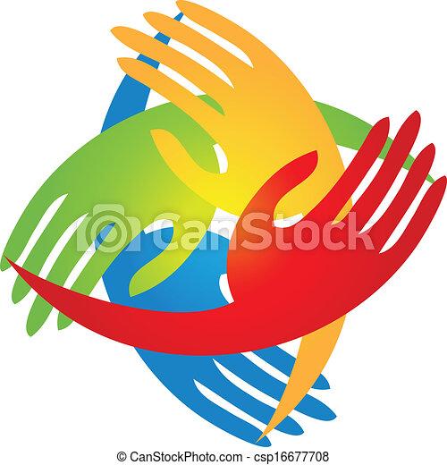 logotipo, forma, diamante, mãos - csp16677708