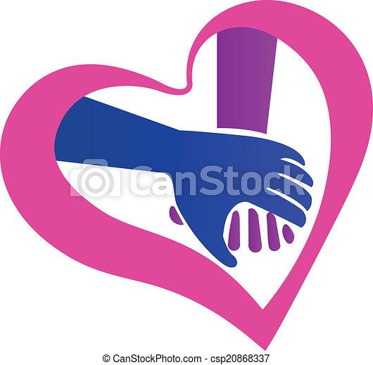 logotipo, forma, mani, presa a terra, cuore - csp20868337