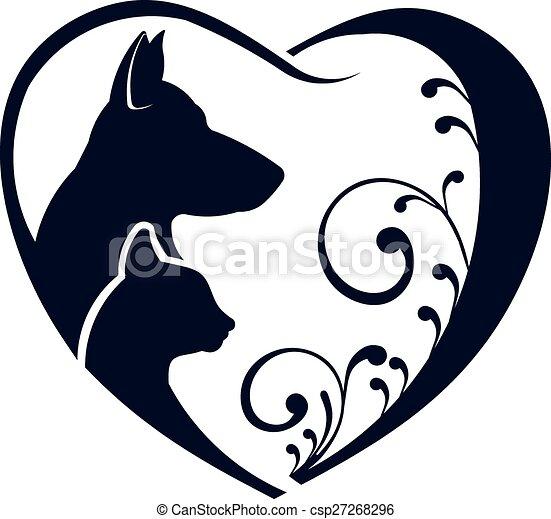 El gato perro ama el logo del corazón - csp27268296