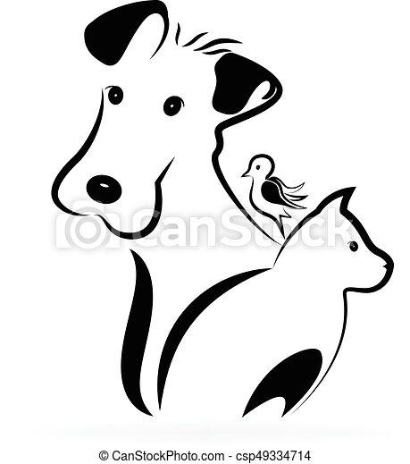 Logotipo Gato Cachorro Passaro Silueta Imagem Cao Gato