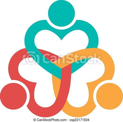 Tres corazones aman a la gente - csp23171504