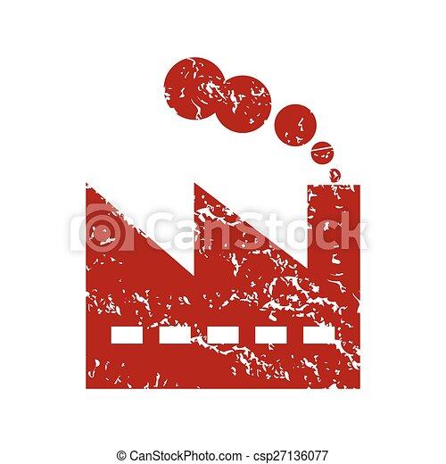 Logo de la fábrica de grunge roja - csp27136077