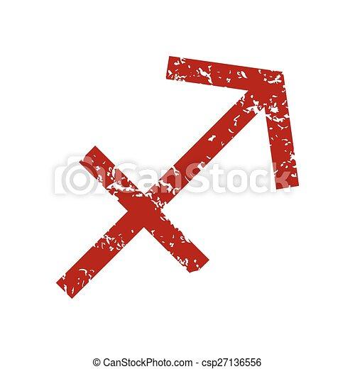Logotipo sagitario de grunge rojo - csp27136556
