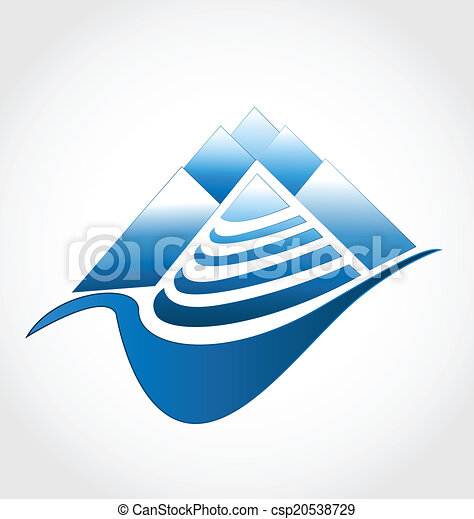 logotipo, grupo, montanhas - csp20538729