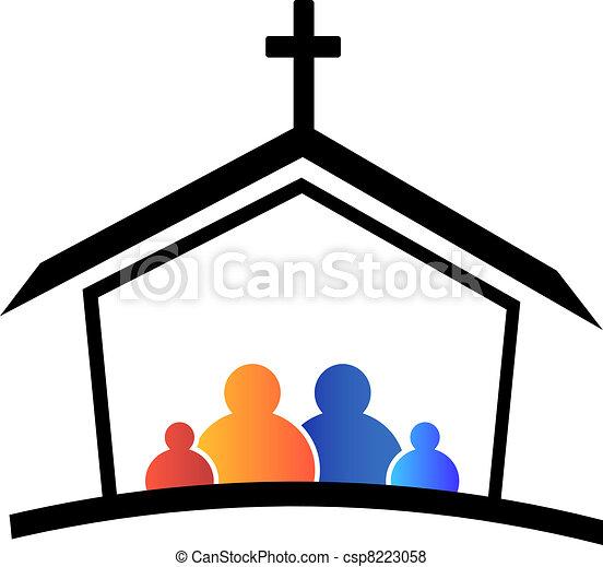 logotipo, iglesia, familia , fe - csp8223058