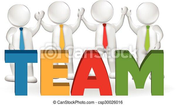logotipo, lavorante, 3d, lavoro squadra, funzionari - csp30026016