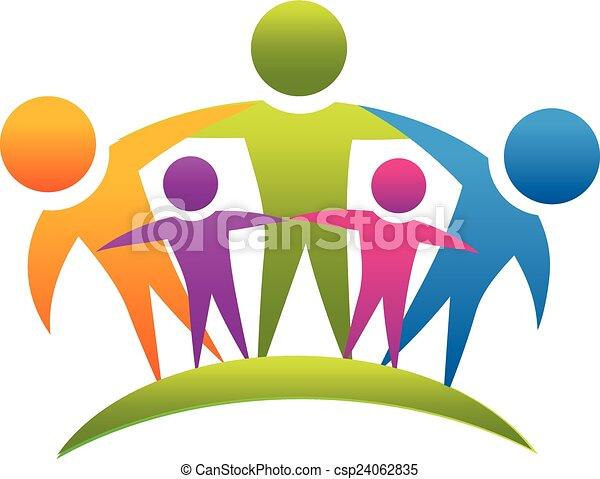 logotipo, lavoro squadra, abbracciare, famiglia, persone - csp24062835