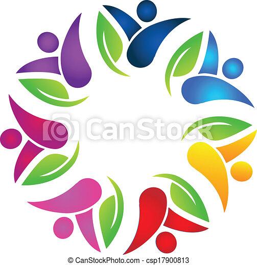 logotipo, lavoro squadra, mette foglie, persone - csp17900813