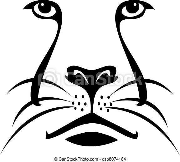 Cara de león silueta logo - csp8074184