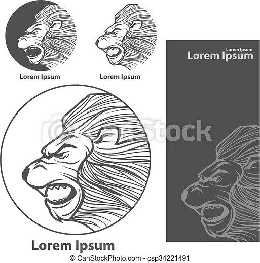 Leone Di Profilo Disegno.Logotipo Leone Testa