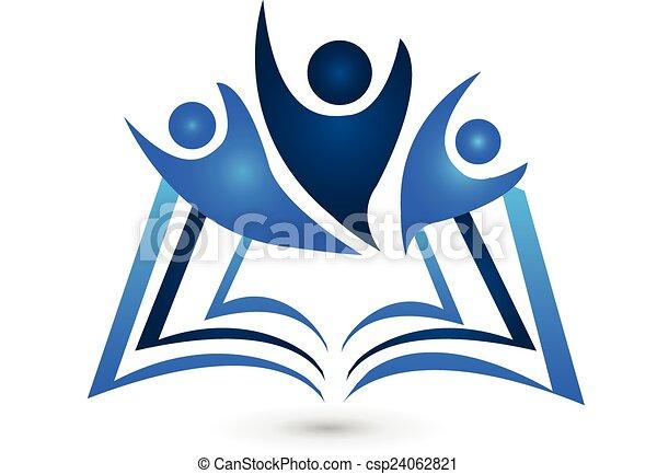 logotipo, libro, trabajo en equipo, educación - csp24062821