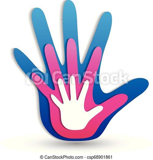 logotipo, mani, famiglia, icona - csp68901861