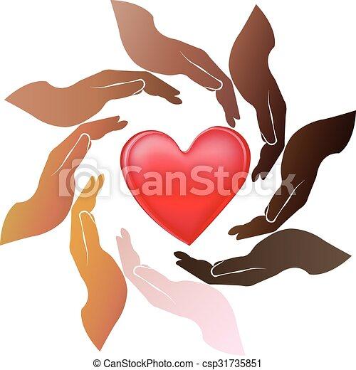 logotipo, mani, intorno, cuore - csp31735851