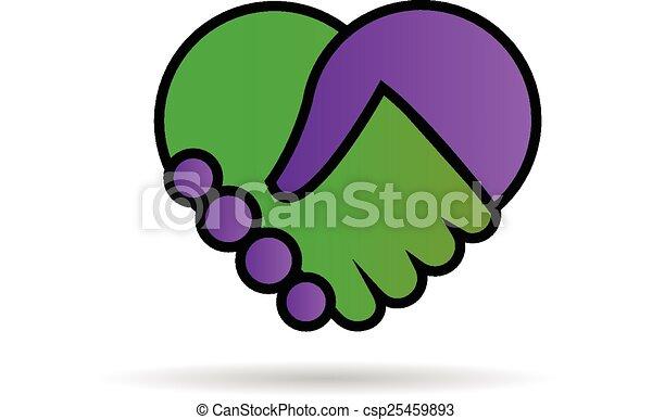 logotipo, mani, scuotere, amare cuore - csp25459893