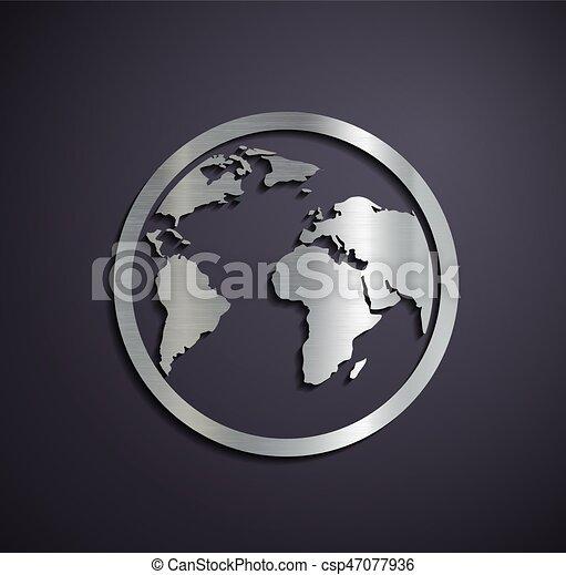 logotipo, metallico, earth., appartamento - csp47077936