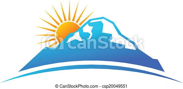 Montaña y sol en el logo de horizonte - csp20049551