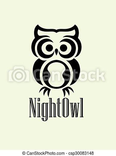Logo de búho nocturno - csp30083148