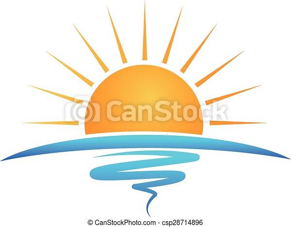 logotipo, onde, spiaggia, sole - csp28714896
