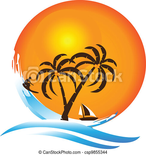 logotipo, paraíso tropical, ilha - csp9855344