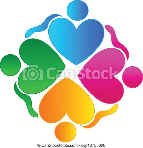 logotipo, persone, lavoro squadra, abbracciare, cuori - csp18755626