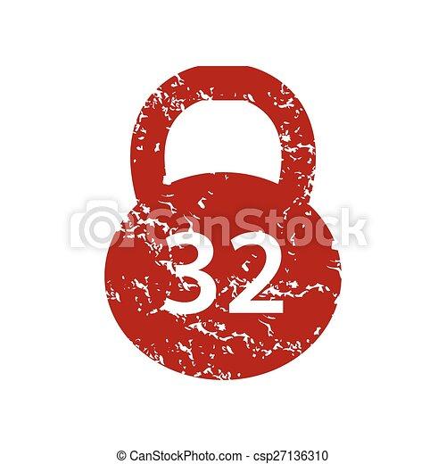 Logotipo de peso grunge rojo - csp27136310