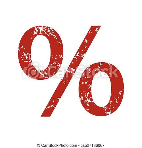 Logo del porcentaje de grunge rojo - csp27136067