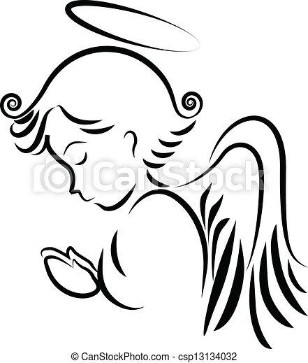 logotipo, pregare, angelo - csp13134032