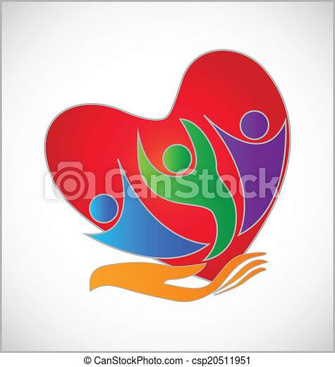 logotipo, proteção, mão, coração - csp20511951