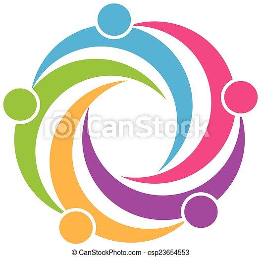 logotipo, símbolo, trabalho equipe, desenho - csp23654553