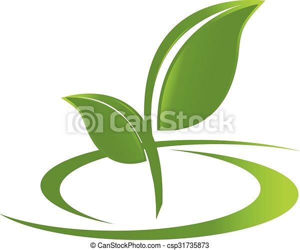 logotipo, salute, mette foglie, natura - csp31735873