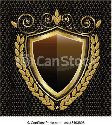 logotipo, scudo, oro - csp18493806