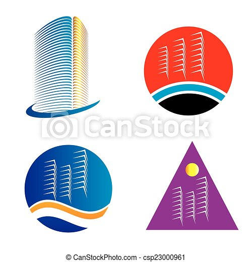 logotipo, set, grattacielo, sagoma - csp23000961