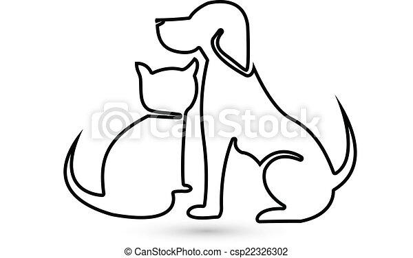 Logotipo Silhouette Cane Gatto Veterinario Cane Gatto