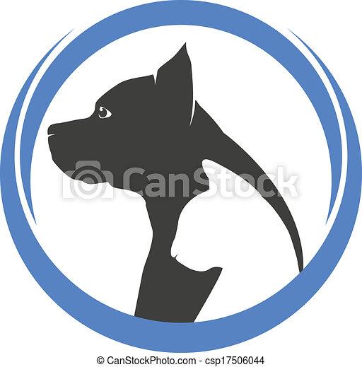 Perro y gato siluetas de logo - csp17506044