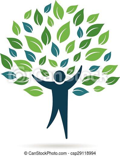 logotipo, solo, árbol, gente - csp29118994