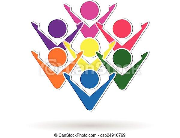 Logotipo de trabajo de equipo colorido - csp24910769