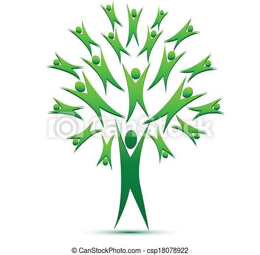 logotipo, trabalho equipe, vetorial, árvore, pessoas - csp18078922