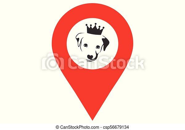 Logotipo de localización del perro rey - csp56679134