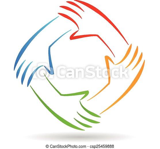logotipo, unidade, trabalho equipe, mãos - csp25459888