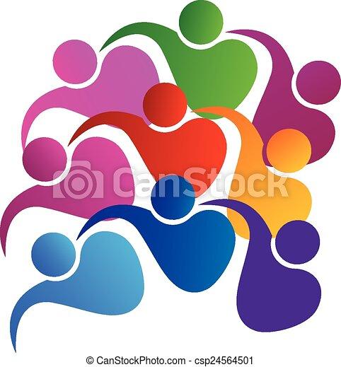 logotipo, unidade, vetorial, trabalho equipe, pessoas - csp24564501