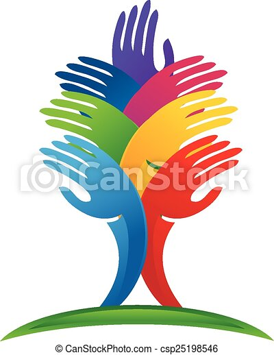 logotipo, vector, árbol, manos - csp25198546