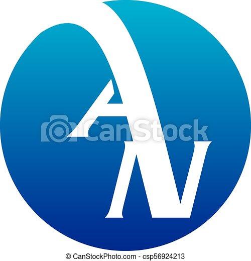 Carta AN logotipo vector de diseño - csp56924213