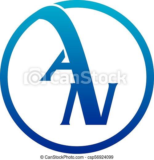 Carta AN logotipo vector de diseño - csp56924099