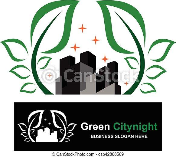 Logo Green City Night - csp42868569