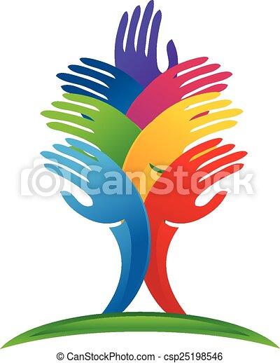 logotipo, vetorial, árvore, mãos - csp25198546