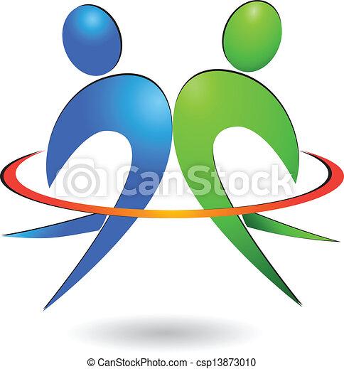 logotipo, vetorial, feliz, pessoas - csp13873010