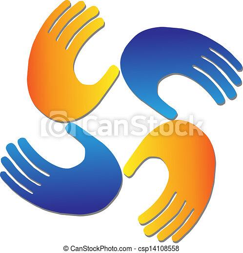 logotipo, vetorial, proteção, mãos - csp14108558