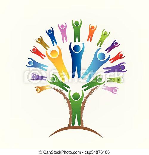 logotipo, vetorial, trabalho equipe, árvore, pessoas - csp54876186